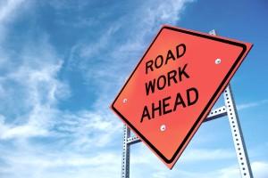 Road Work Ahead Orange Sign