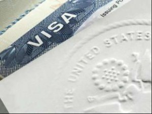 US VISA stamp mark closeup
