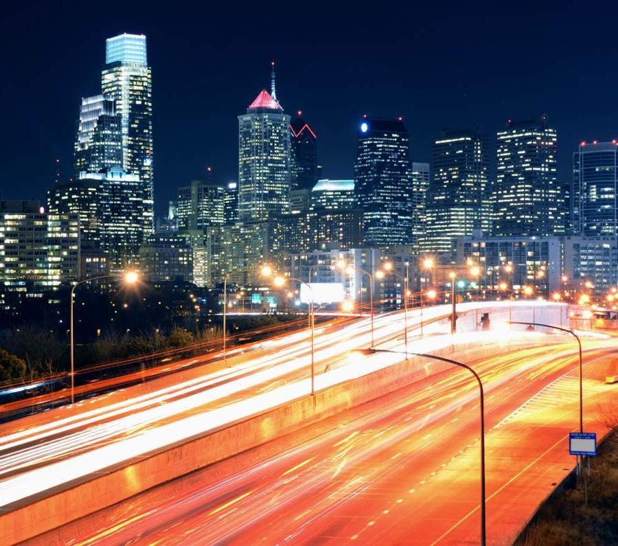 philadelphia skyline highway night