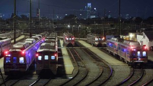 septa cars in yard at night