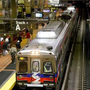septa regional rail train at track A
